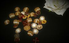 Vintage 80s gold & brown buttons, metallic buttons, plastic buttons metalised