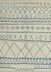 Moroccan Beni Ourain Rug, 6'x8', Ivory/Blue, Hand-Knotted Wool Pile