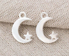 925 Sterling Silver 2 Moon and Star Pendants 11x16 mm.