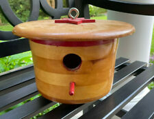 Vintage Natural Wood Round Bird House Banded Painted Red Accents 8� Tall X 11�D