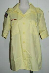 NWT NEW Wms Boy Scouts of America Yellow Uniform Short Sleeve Shirt Large 14-16