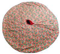 "Vintage Handmade Plush Double-sided Christmas Tree Skirt Bear's Candy Canes 50"""