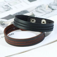 Unisex's Men Punk Handmade Leather Braided Surfer Wristband Cuff Bracelet Bangle