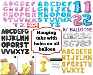 """;Self Inflating 16"""" INCH Foil Number & Letters BALLOONS Happy Birthday Balloons"""