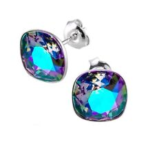 Sterling Silver Stud Earrings Square Paradise Shine Crystals from Swarovski®