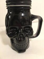 SKULL HEAD 16 OZ GLASS BLACK MASON JAR DRINKING CUP W/STRAW NEW