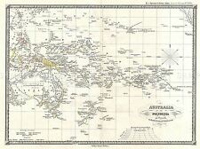 Mappa geografica illustrata Antico SPRUNER AUSTRALIA POLINESIA ART PRINT bb4481a