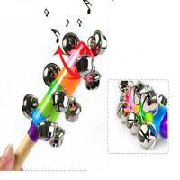 Rainbow Musical Instrument Toy Wooden Hand Jingle Ring Bell Rattle Kids Gift Toy