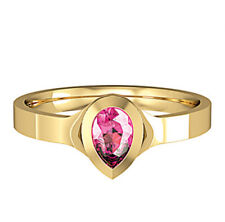 Yellow Gold Pink Tourmaline Ring Pear Solitaire 18 Carat Gold Handmade British