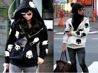 Modern Style Korean Women's Skull Casual Hooded Jacket Zipper Cardigan Sweater