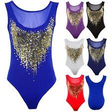 Women's Sheer Gold Mesh Sequin Low Back Insert Ladies Leotard Bodysuit Top