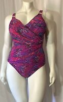 SPANX 2095 Multicolor Slimming Ruched Draped One Piece Swimsuit Size 14 EUC