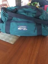 Vintage Jansport Made In USA Duffle Bag Hunter Forest Green Nylon Shoulder Steap