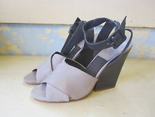 BACIO 61 Betulla Taupe LEATHER WEDGE BUCKLED Sandal SHOES SZ 10 M EUC!