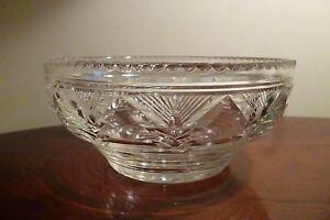 Art Deco Stuart Cut Crystal Fruit Bowl c1921 Rd 681309, Signed - 20cm Diameter