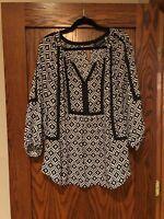 jones new york signature woman blouse black and white size 1x