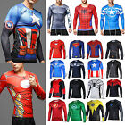 Men Hero Batman Spiderman Shirts Long Sleeve T-shirt Sports Gym Jersey Tee S-4XL