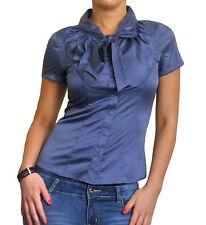Ladies Pussy Bow Blouse Short Sleeve Shirt Size 10 12 14 16 18 20