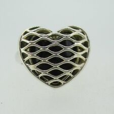 Sterling Silver Lattice Heart Shaped Ring Size 6