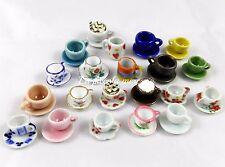 5 tazzine tazzina piattino mug ceramica misto miniatura bambole bigiotteria