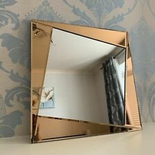 Copper Glass Frame Geo Wall Mirror Geometric Copper Bathroom Wall Mirror 50x50cm