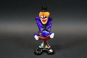 Clown bunte Glasfigur Murano mit Etikettresten (DJ112)