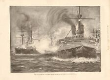 1893 ANTIQUE PRINT - NAVAL MANOEUVRES, ENGAGEMENT BETWEEN RED AND BLUE FLEETS