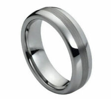 6mm Men's or Ladies Tungsten carbide Domed Brushed Center wedding band ring