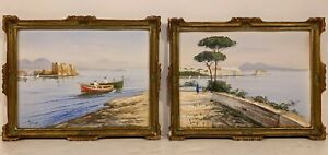 Pair Signed Vintage ITALIAN GOUACHE PAINTINGS Bay of Naples