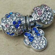 Disney Love Minnie Icon Pink Crystal Bow Blue CZ Hearts European Beads Charms