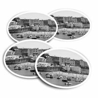 4x Round Stickers 10 cm - BW - Tenby Harbour Wales UK Travel Boats  #43628