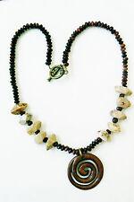 "Genuine multi stone beaded GoldstoneTiger Eye Jasper Pendant Necklace 18""L"