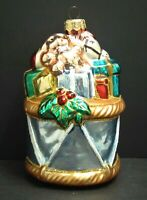 Vintage Blown Glass Christmas Ornament Drum With Toys & Gifts Poland 5.5""