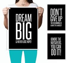 Dream Big 3 Set Poster (13 x 19) Motivational Inspirational Wall Art Posters