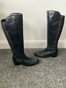 Clarks Genuine Leather Black Knee Boots UK Size 5 Wide Fit (E)