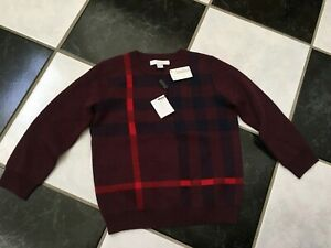 NWT 100% AUTH Burberry Boy Mini Redbury Cotton Blend Check Sweater $235 Sz 4