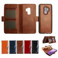 For Samsung Galaxy Note 9/8/S9/S8 Plus Removable Leather Wallet Card Cover Case