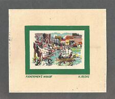 """Vintage Silk Screen Print - Harry Del Reeks - SF """"Fisherman's Wharf"""" Image"""