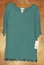 NWT Rebecca Malone,1/2 sleeve,Scoop-Neck Top Sz XL,Teal,Poly/Rayon RN 113135