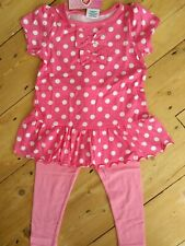 Girls Toddlers 2 two piece top and leggings set frill dress pink polka dot bows