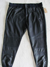 True Religion Jogger Pants -Coated Moto Zippers -Jet Black -Size 3XL -NWT $229