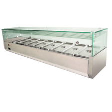 1.8 metre Benchtop Fridge eight trays commercial saladette pizza glass display
