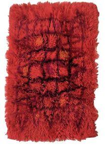 Vintage Atomic Design Vibrant Orange Rug