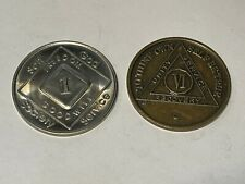 Narcotics Anonymous Na 1 & 6 Year Clean Silver & Bronze Recovery Medals