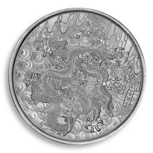 Chinese Dragon Year, Silver Plated Coin, Long Dance, Lucky Coin, Token, Medal