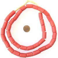 Ghana African Matched Coral red cylinder Recycled glass trade beads-Ghana