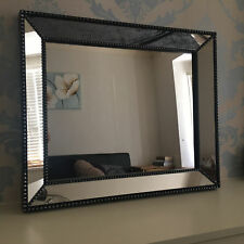 Silver Black Frame Industrial Style Wall Mirror 60cm x 50cm Home, Office, Lounge