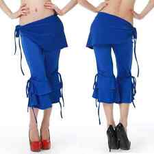 Q1585# Belly Dance Tribal Flared Cropped Pants 2pcs(Pants, Hip Scarf) 10 colors