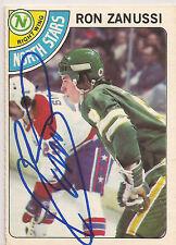 Ron Zanussi Signed 1978-79 O-Pee-Chee OPC Card #252 Minnesota North Stars