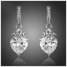 DF100 Gorgeous Handmade With Swarovski Crystals Silver Heart Drop Earrings $78